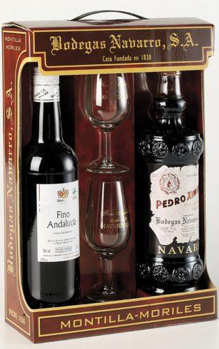Bodegas Navarro: Estuche regalo cartón 2 botellas y 2 catavinos